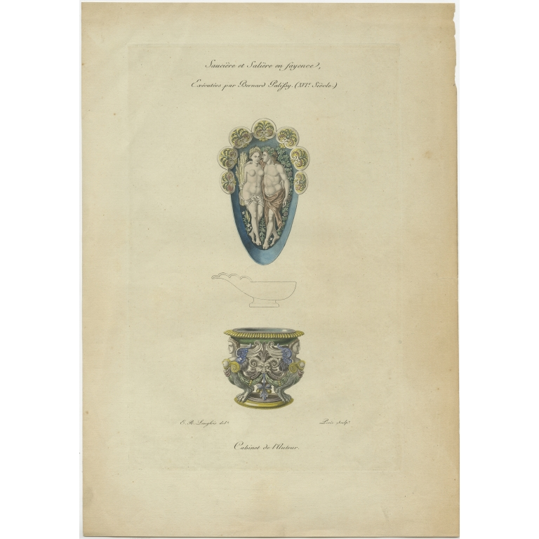 Antique Print of a Gravy and Salt Cellar by Willemin (1839)