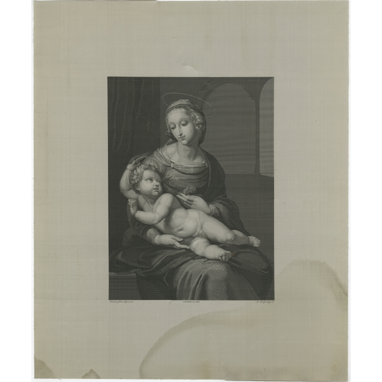 Antique Print of Madonna and Child by Furnion (c.1890)