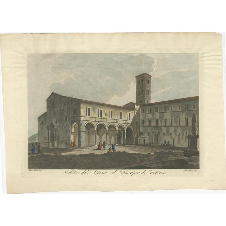 Antique Print of the Church of Cortona by Pera (c.1800)