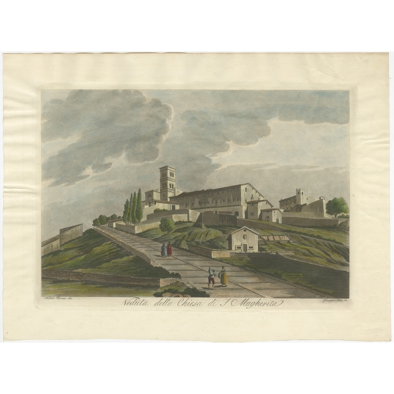 Antique Print of the Basilica of Santa Margherita by Pera (c.1800)