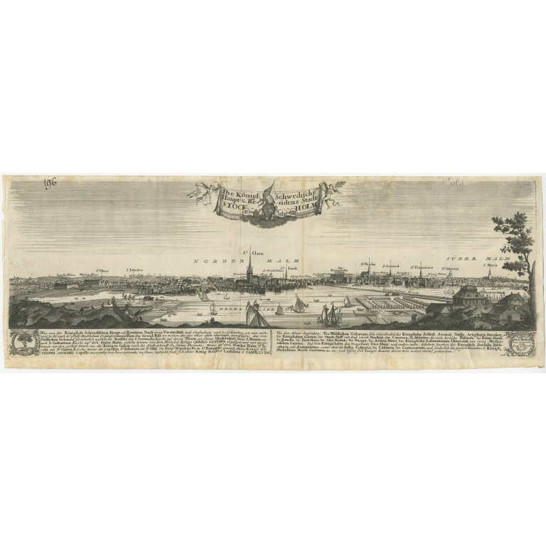 Antique Print of the city of Stockholm by Bodenehr (c.1720)
