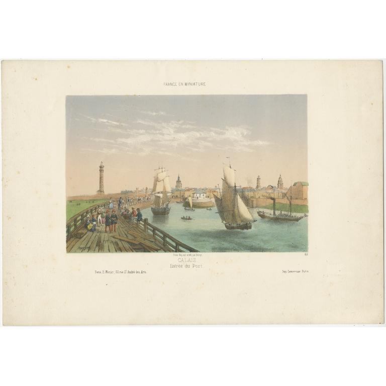 Antique Print of the Port of Calais by Lemercier (c.1860)