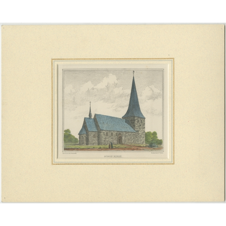 Antique Print of the Sørup Kirke by Trap (1864)