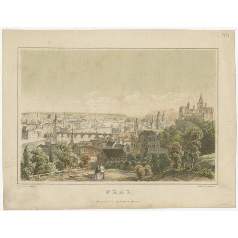 Antique Print of the city of Prague by Eisenblätter (1866)
