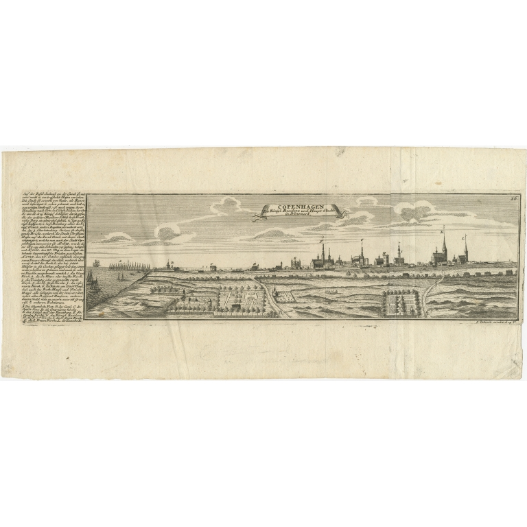 Antique Print of the city of Copenhagen by Bodenehr (c.1720)