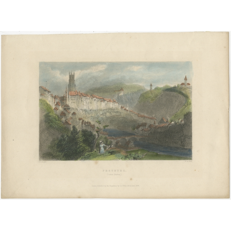 Antique Print of Fribourg by Le Petit (1835)