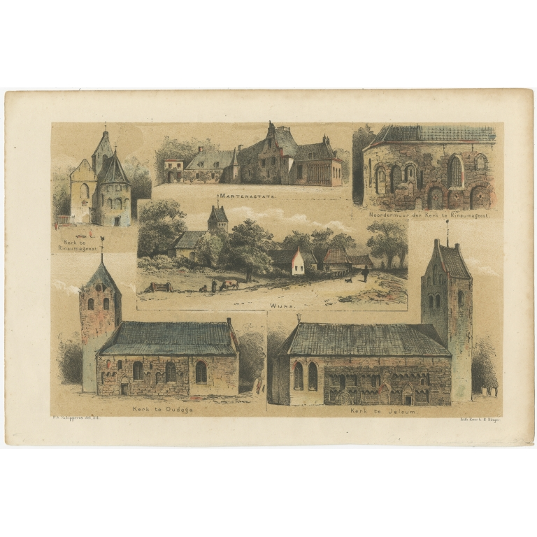 Antique Print of the Church of Rinsumageest and other Views by Craandijk (1888)