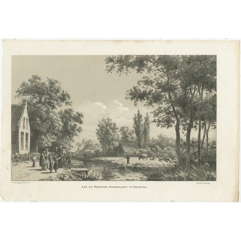 Antique Print of the Canal of Drachten by Craandijk (1888)