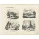 Antique Print with views of Franeker, Workum, Heerenveen and Warns by Mendel (1841)