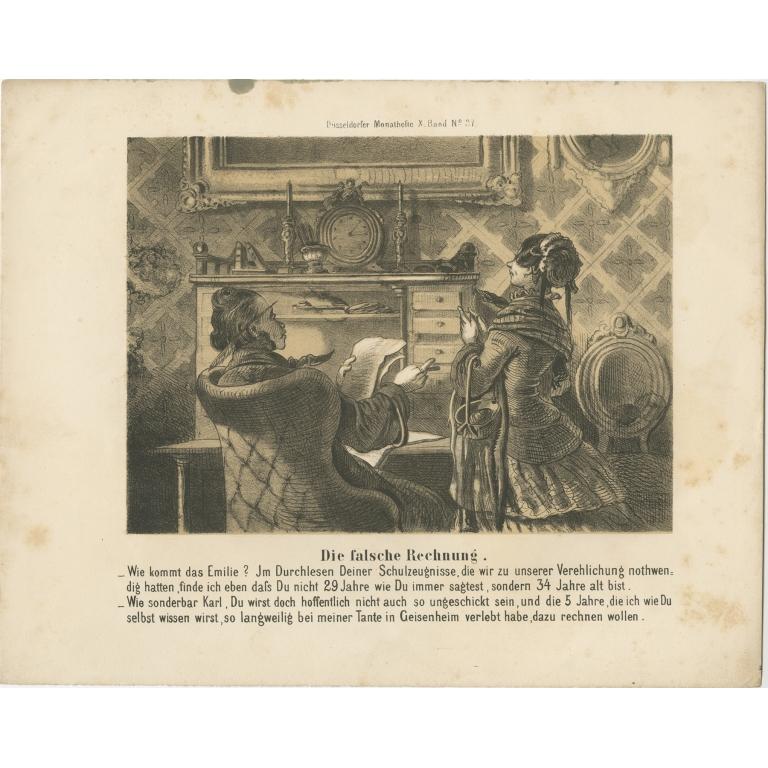 Antique Print of an Office Scene (c.1860)