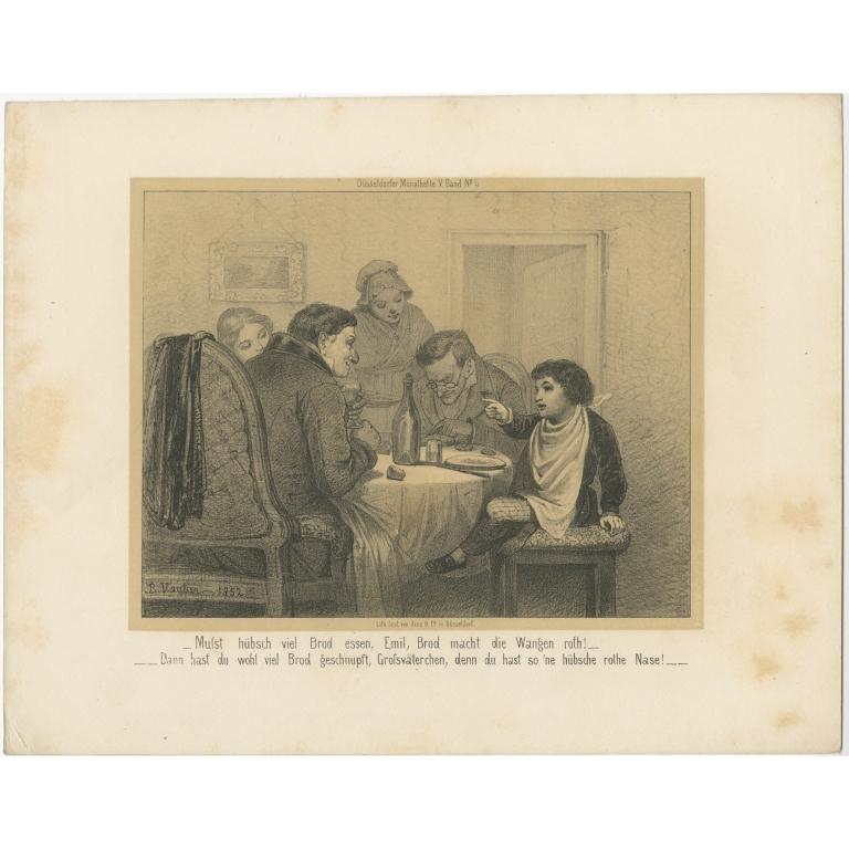 Antique Print of a Family having Dinner (c.1860)