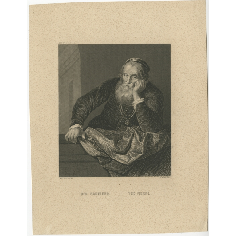 Antique Print of a Rabbi by French (c.1850)