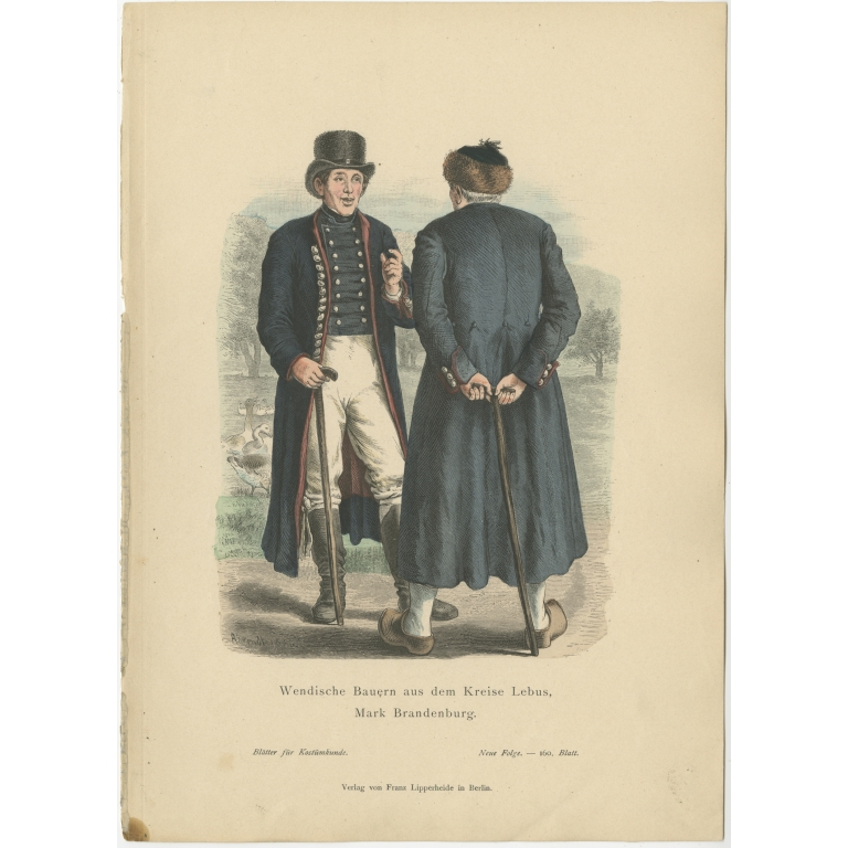 Antique Costume Print of Farmers from the region of Lebus by Lipperheide (c.1880)
