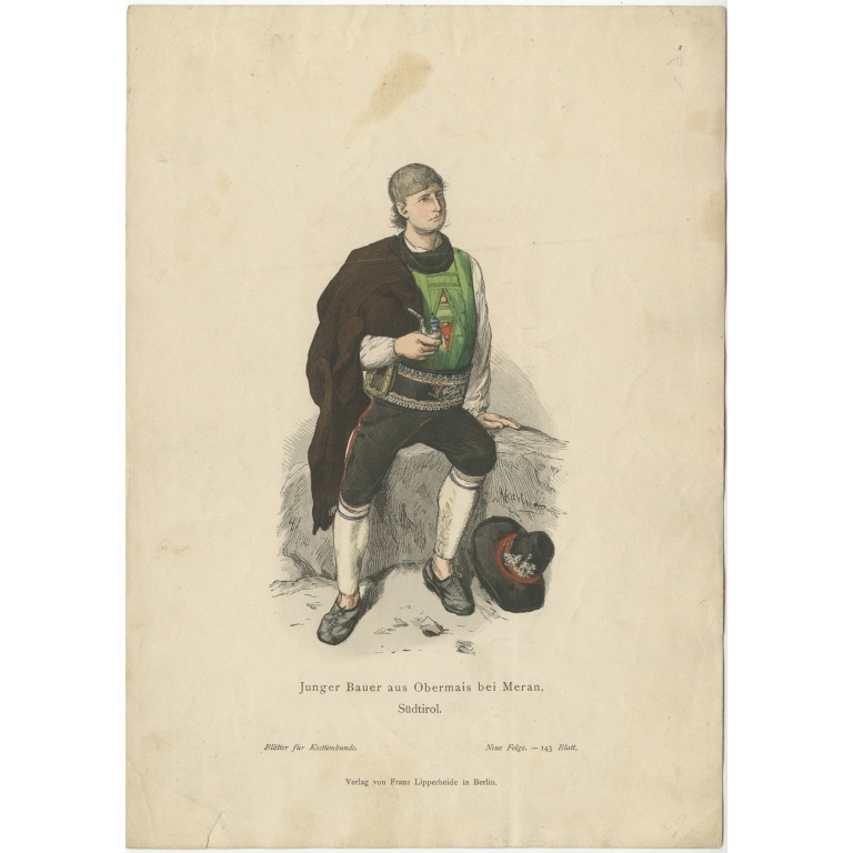 Antique Costume Print of a young farmer from the region of Obermais by Lipperheide (c.1880)