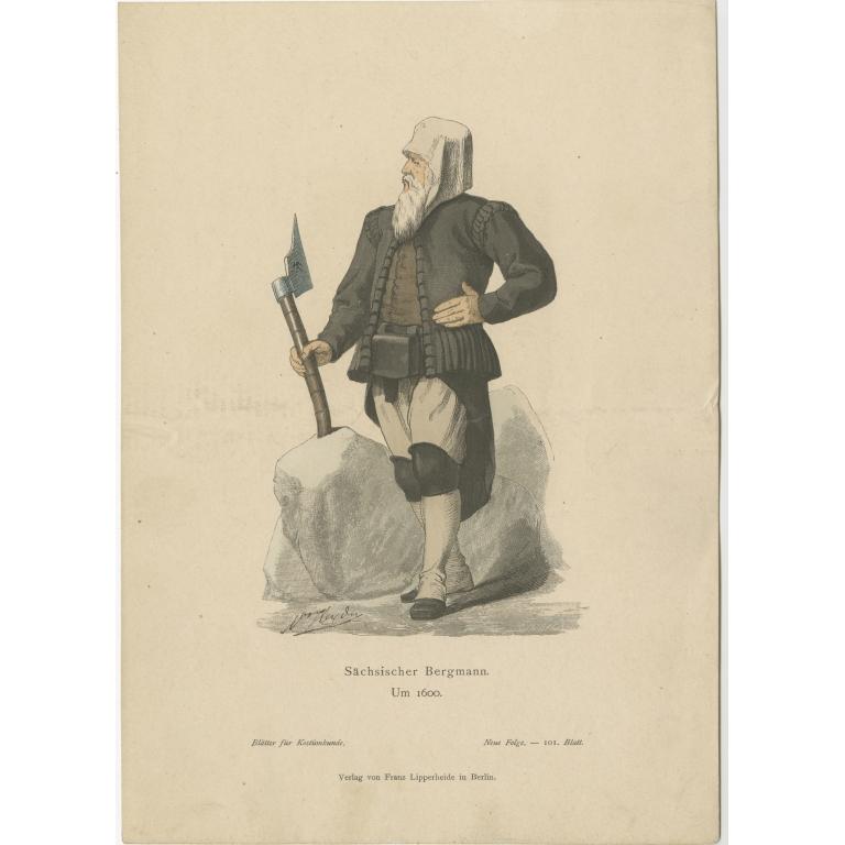 Antique Costume Print of a Saxon Miner by Lipperheide (c.1880)