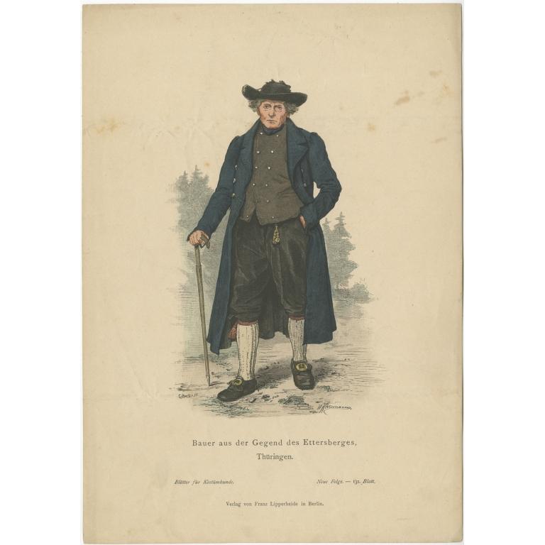 Antique Costume Print of a Farmer from the region of Ettersberg by Lipperheide (c.1880)