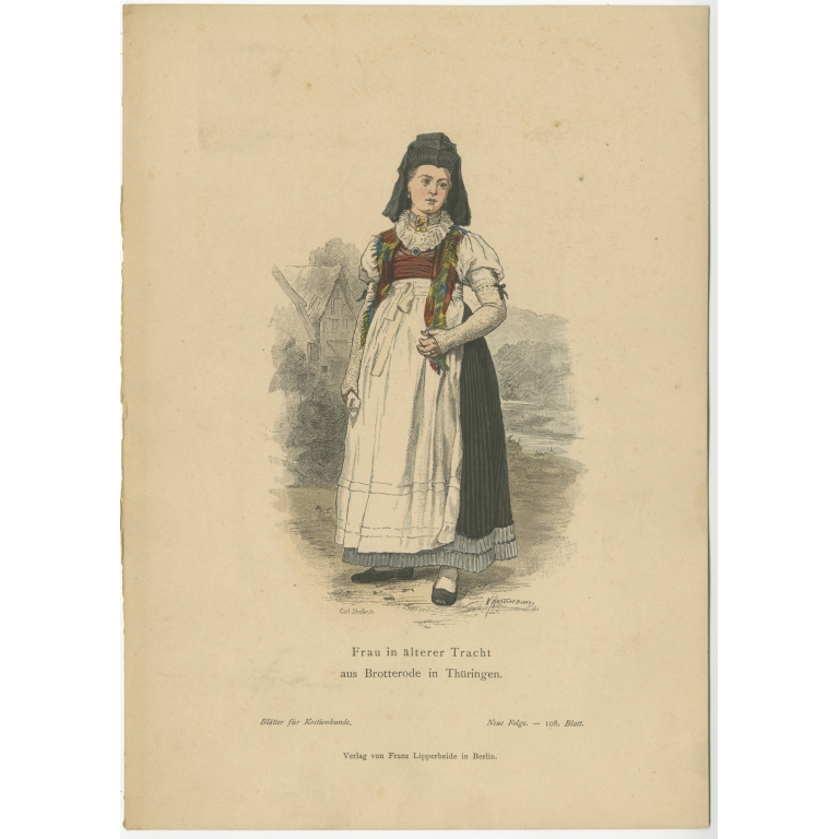 Antique Costume Print of a woman from Brotterode (Thuringia) by Lipperheide (c.1880)