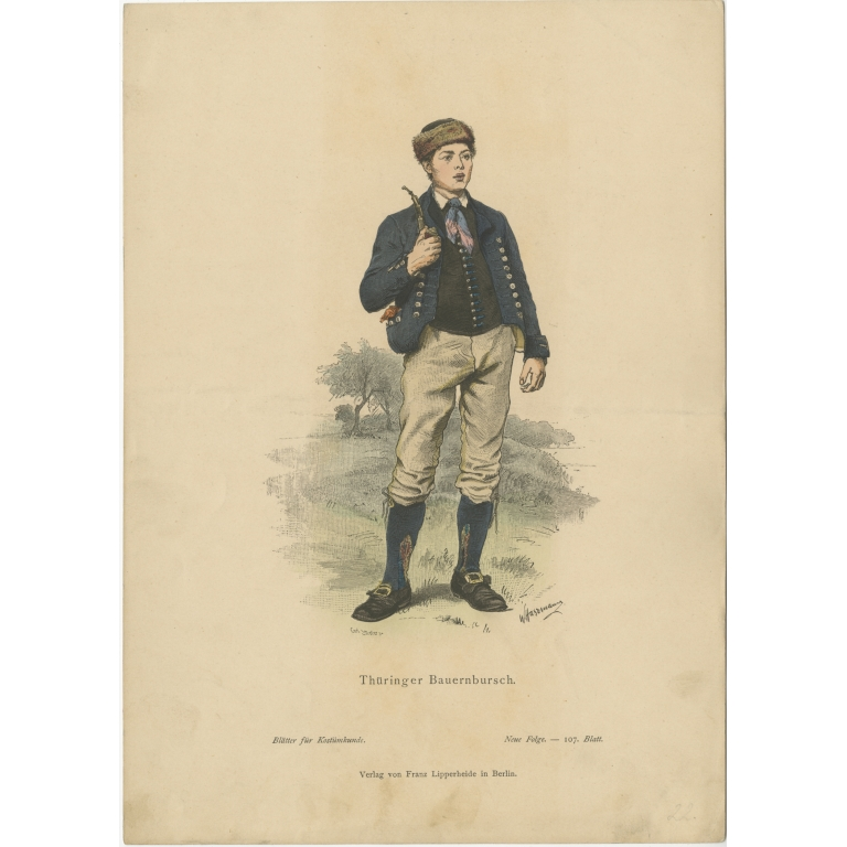 Antique Costume Print of a Peasant Boy from Thuringia by Lipperheide (c.1880)