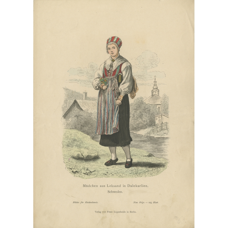 Antique Costume Print of a Girl from Leksand (Sweden) by Lipperheide (c.1880)