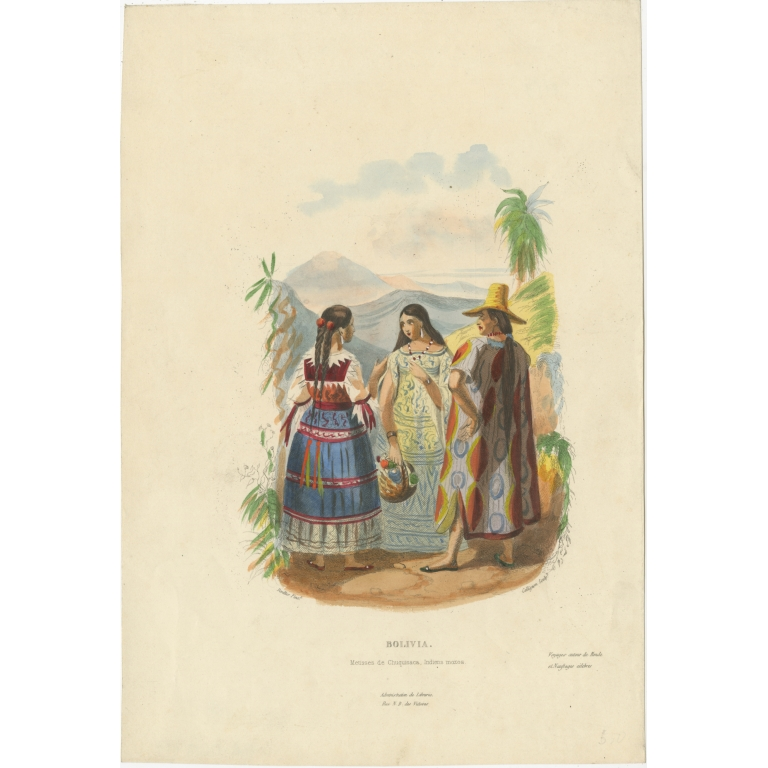Antique Print of Women and a Man from Bolivia by Lafond (1843)