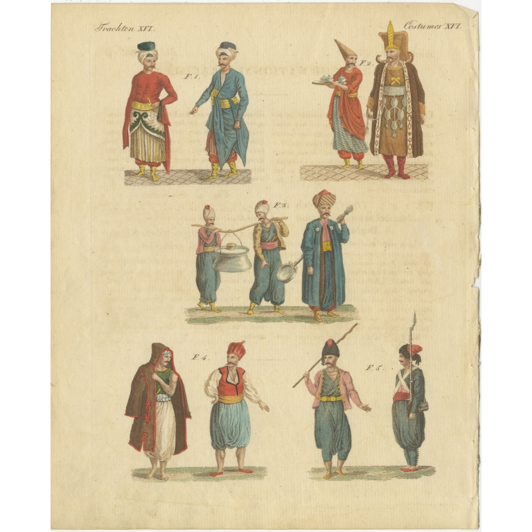 Antique Print of Turkish Men and their Costumes by Bertuch (1810)