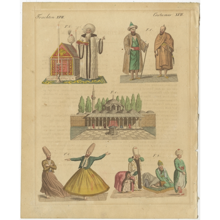 Antique Print of Turkish Religious Costumes by Bertuch (1810)