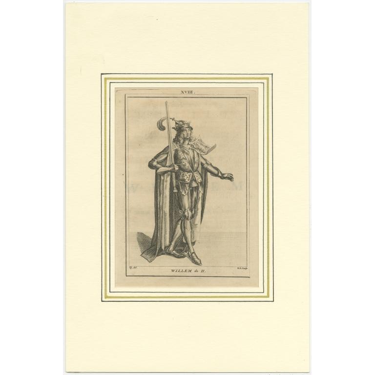 Antique Print of Willem II by Langendijk (1745)