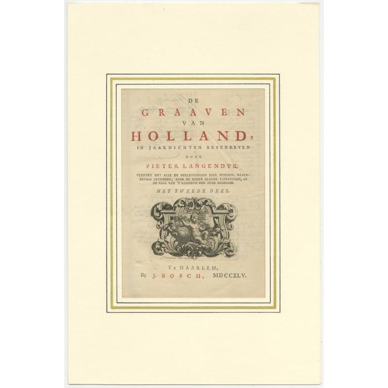 Antique Title Page of volume 2 of 'De Graaven van Holland' by Langendijk (1745)