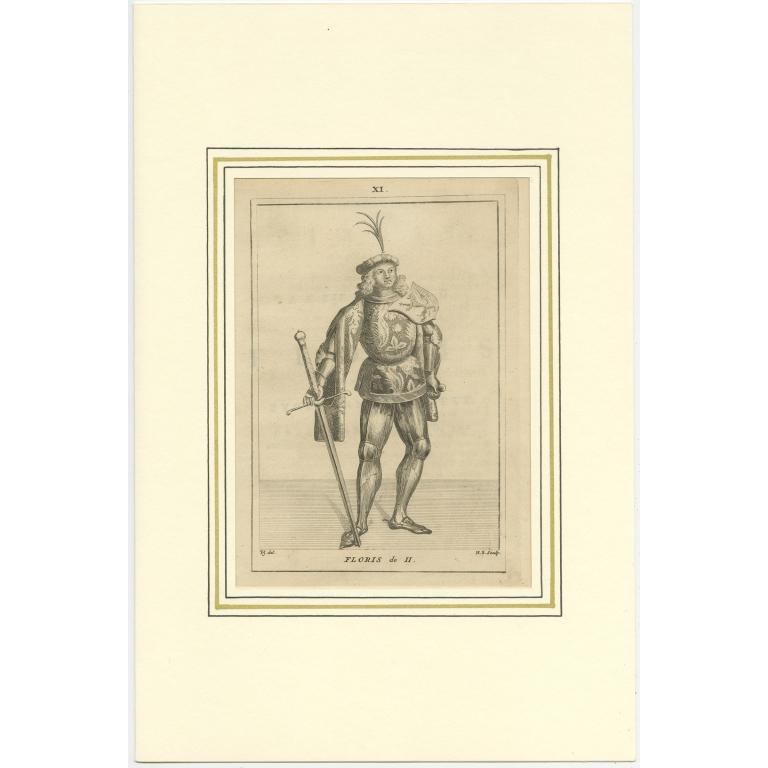 Antique Print of Floris II by Langendijk (1745)