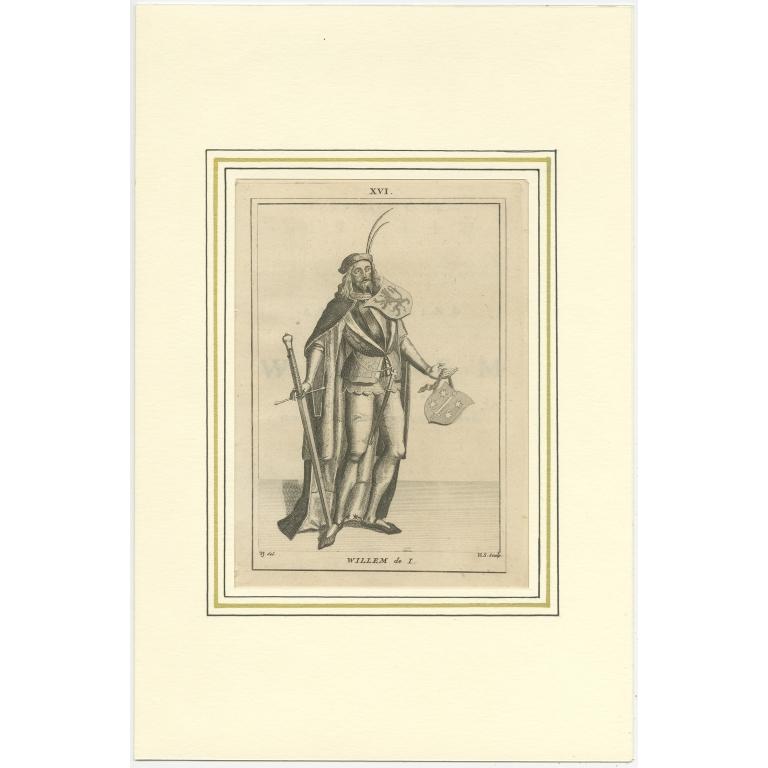 Antique Print of Willem I by Langendijk (1745)