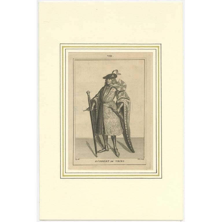 Antique Print of Robrecht I de Fries by Langendijk (1745)