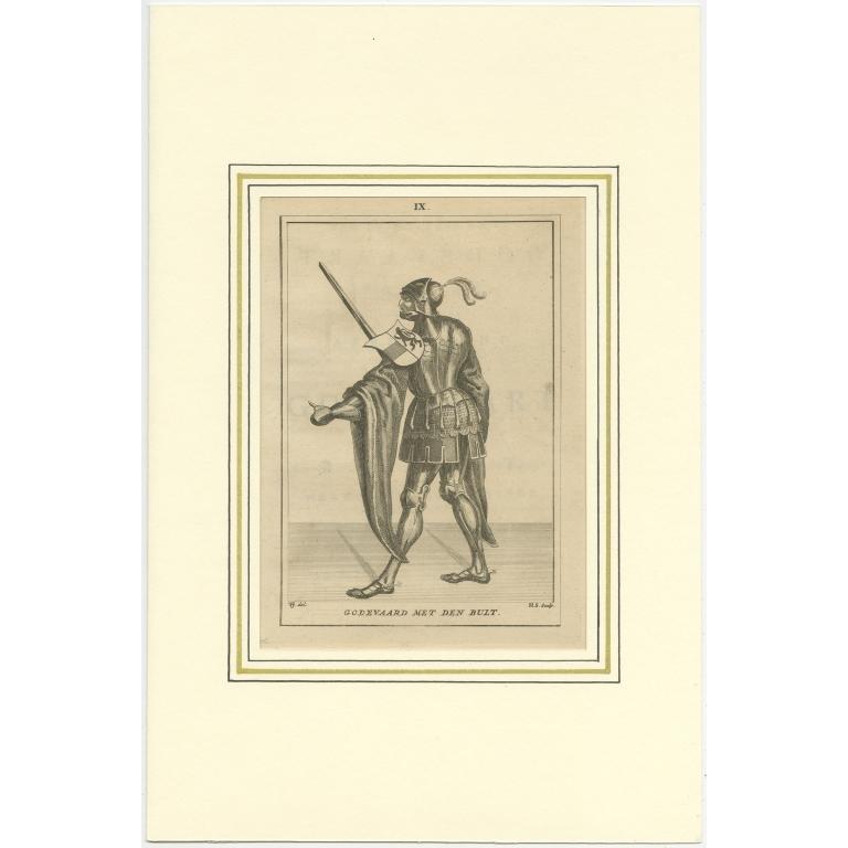 Antique Print of Godfried III van Neder-Lotharingen by Langendijk (1745)