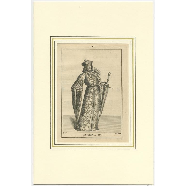 Antique Print of Floris III by Langendijk (1745)