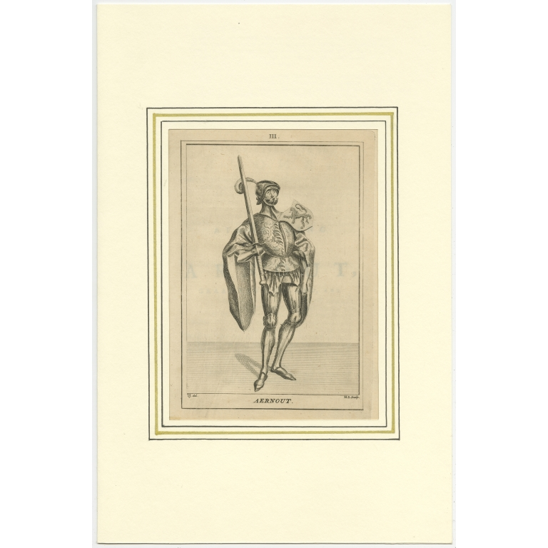 Antique Print of Arnulf II by Langendijk (1745)