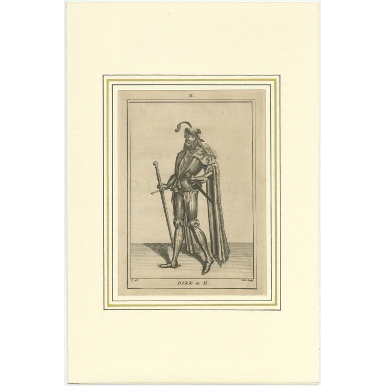 Antique Print of Dirk II of Holland by Langendijk (1745)
