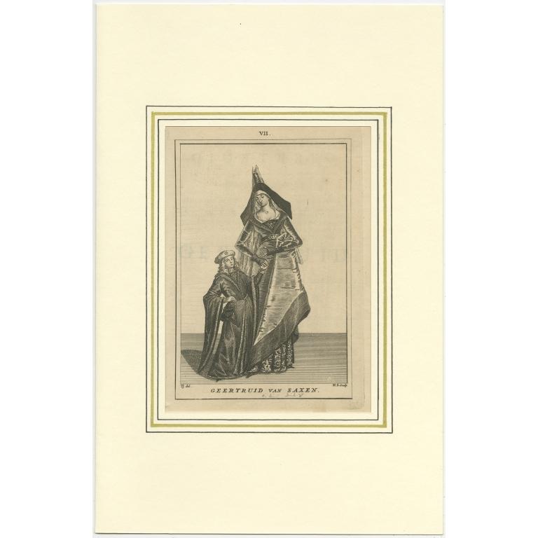 Antique Print of Geertruida van Saksen by Langendijk (1745)