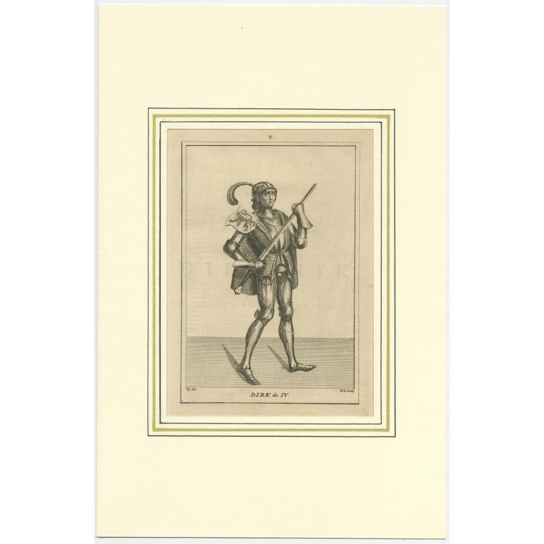 Antique Print of Dirk IV of Holland by Langendijk (1745)
