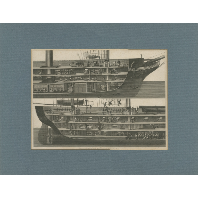 Antique Print of the Inner View of a Corvette by Brockhaus (c.1850)
