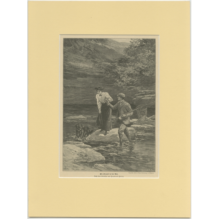Antique Print of a Fisherman assisting a Lady (c.1900)