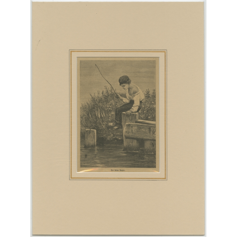 Antique Print of a Young Boy Fishing c.1900)