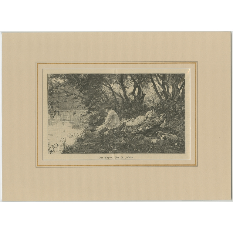 Antique Print of a Man Fishing (c.1900)