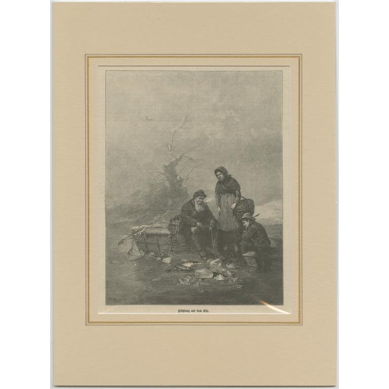 Antique Print of Ice Fishing (c.1900)