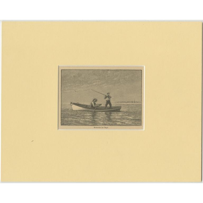Antique Print of Fishermen (c.1900)