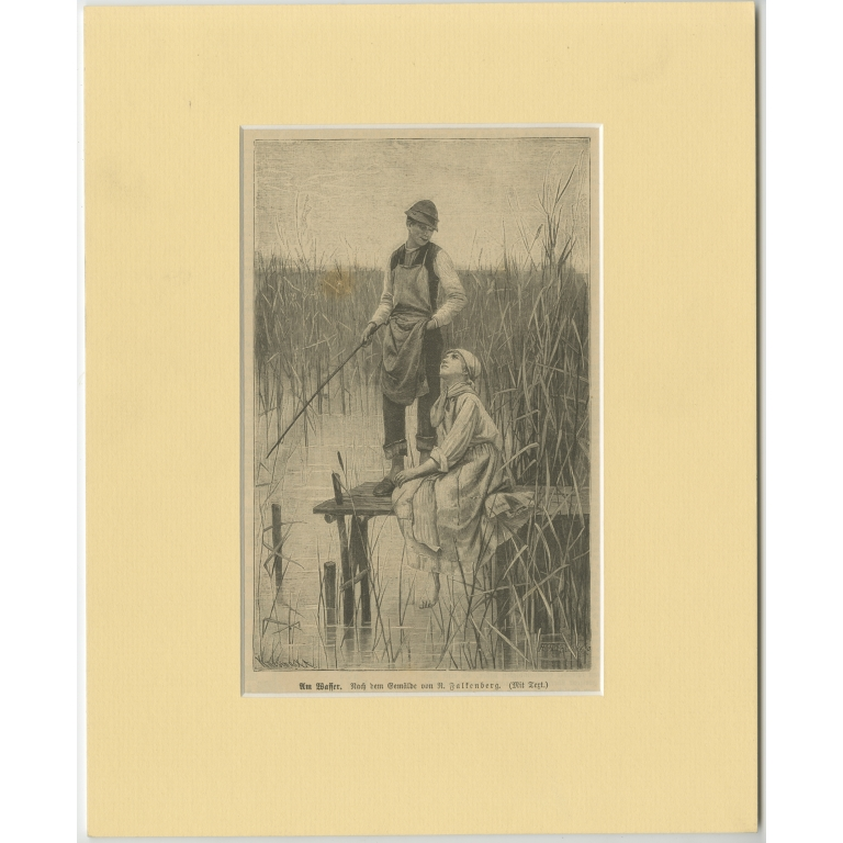 Antique Print of a Boy and Girl near the Water c.1900)