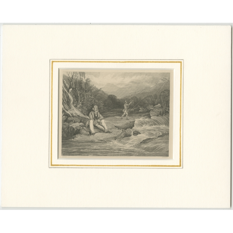 Antique Print of Fishermen in the Highlands by Godden (c.1860)