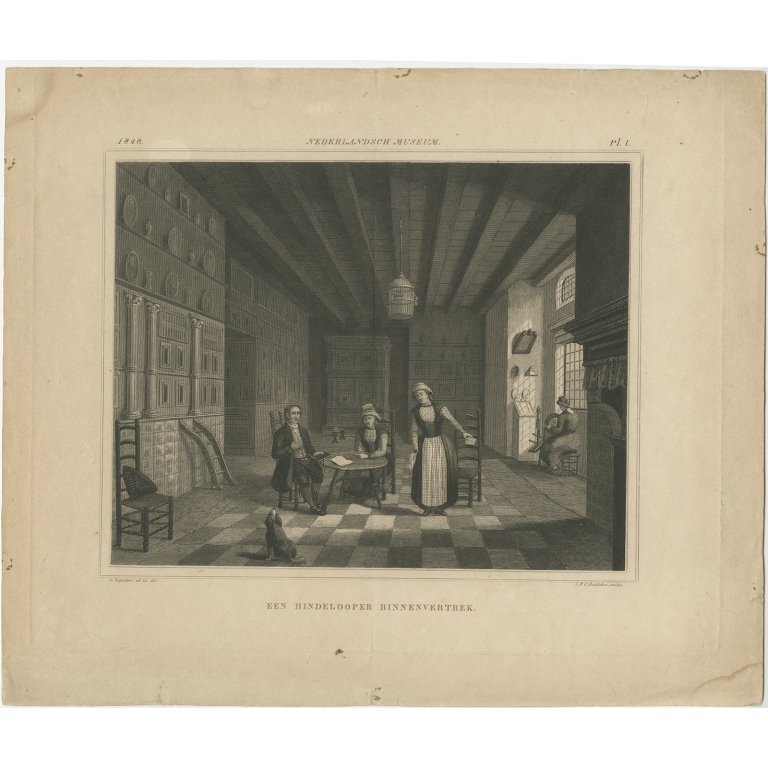 Antique Print of a Residence in Hindeloopen by Reckleben (1848)