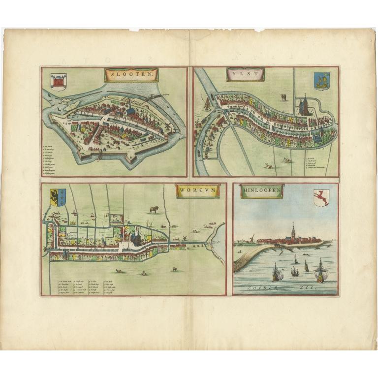Antique Print of Sloten, IJlst, Workum and Hindeloopen by Blaeu (c.1650)
