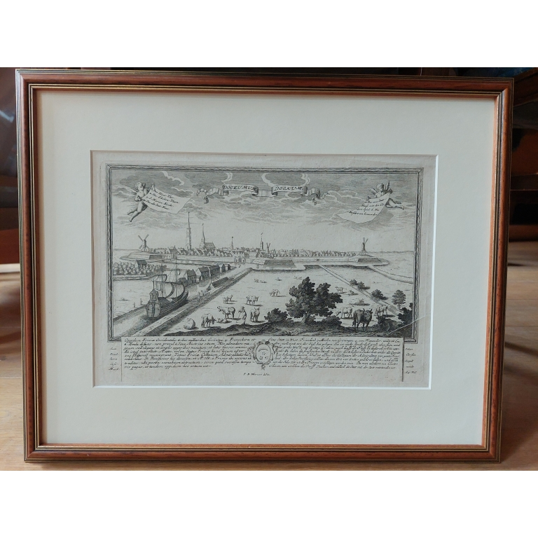 Antique Print of the City of Dokkum by Werner (c.1730)