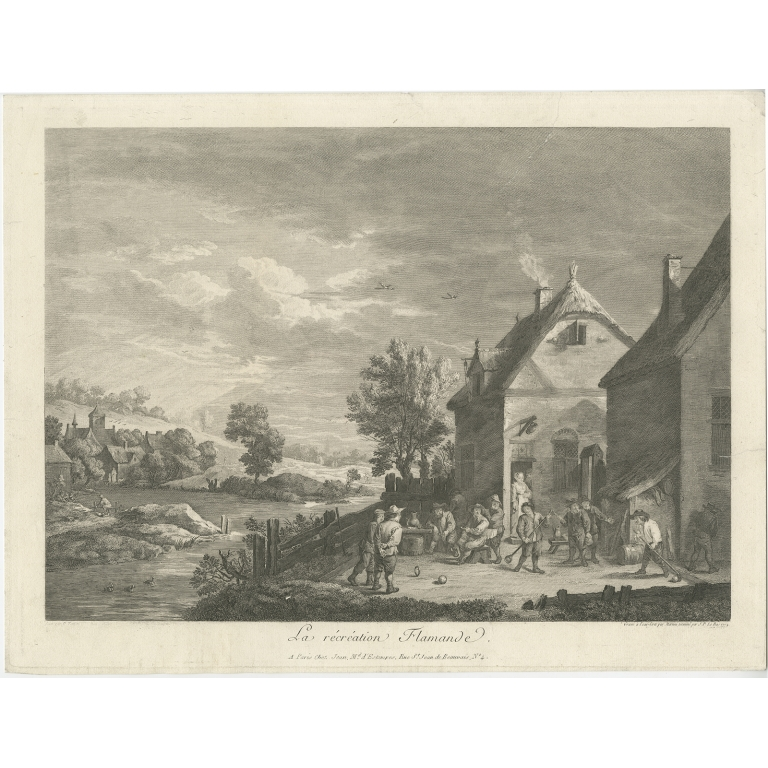 Antique Print of People playing Games in Flanders by Martini (1774)