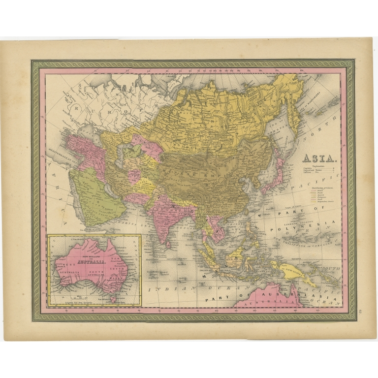 Antique Map of Asia by Cowperthwait (1849)